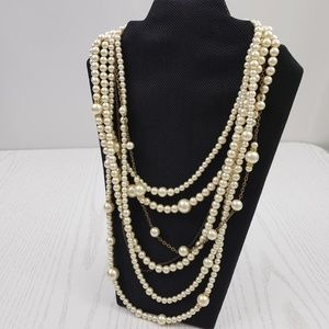 Coldwater Creek Multi Layer Faux Pearl Necklace